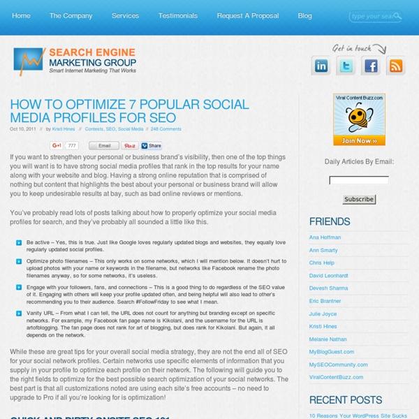 How to Optimize 7 Popular Social Media Profiles for SEO