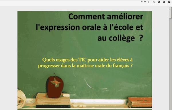 Usages des TICE au service de l'expression orale à l'école et au collège