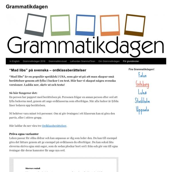 """""""Mad libs"""" på svenska – ordklassberättelser"""