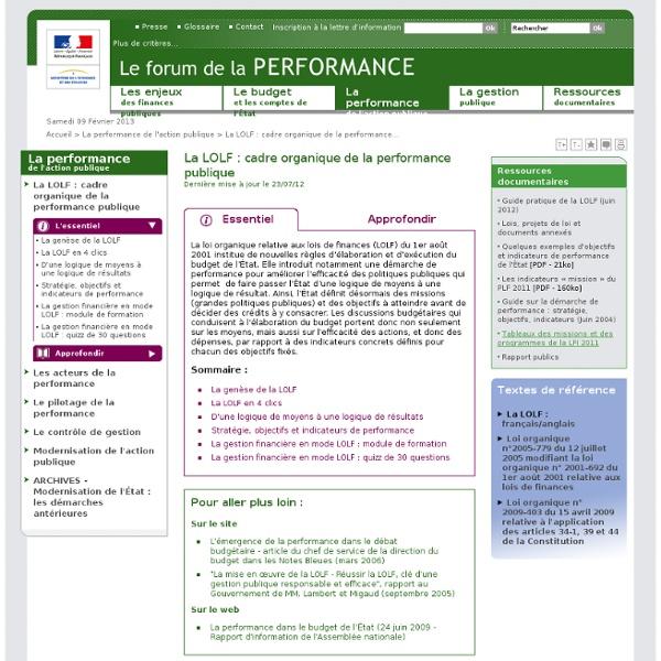 Budget état FRANCE La LOLF le détail