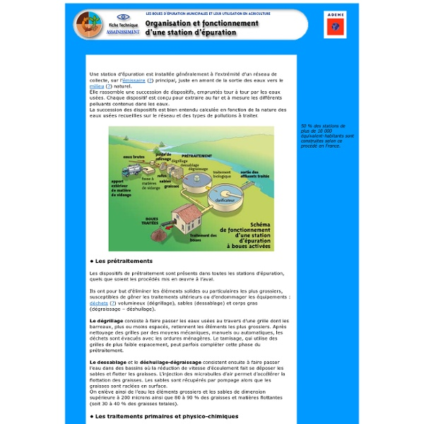 Organisation et fonctionnement d'une station d'épuration
