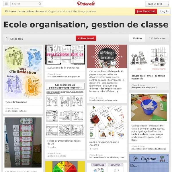 Ecole organisation, gestion de classe