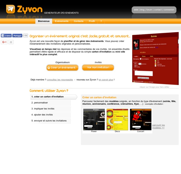 Zyvon - Service gratuit d'organisation d'invitations en ligne interactives