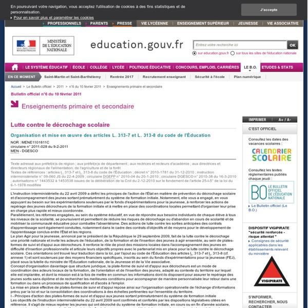 """Circulaire """"lutter contre le décrochage scolaire"""" 9/2/2011"""