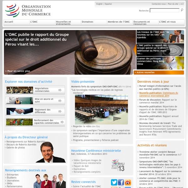 Organisation mondiale du commerce - Page d'accueil