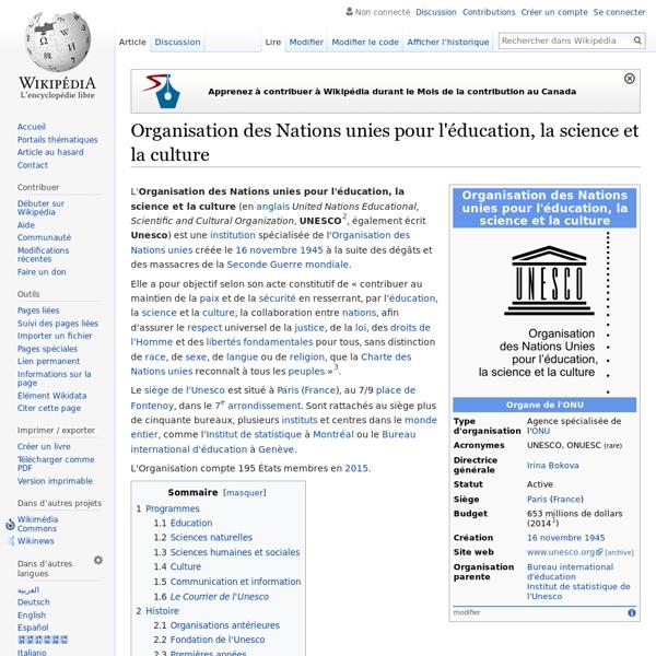 UNESCO Organisation des Nations unies pour l'éducation, la science et la culture