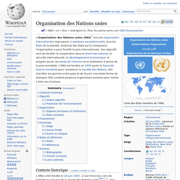 1945 ONU Organisation des Nations unies