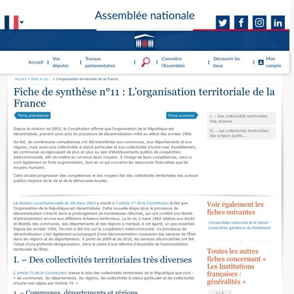 Fiche de synthèse : L'organisation territoriale de la France - Rôle et pouvoirs de l'Assemblée nationale