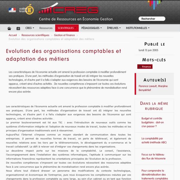 Evolution des organisations comptables et adaptation des métiers