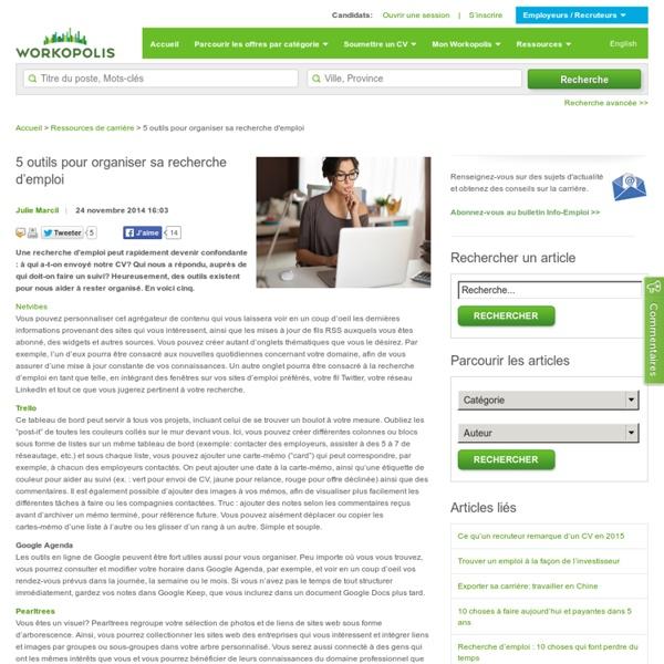 5 outils pour organiser sa recherche d'emploi