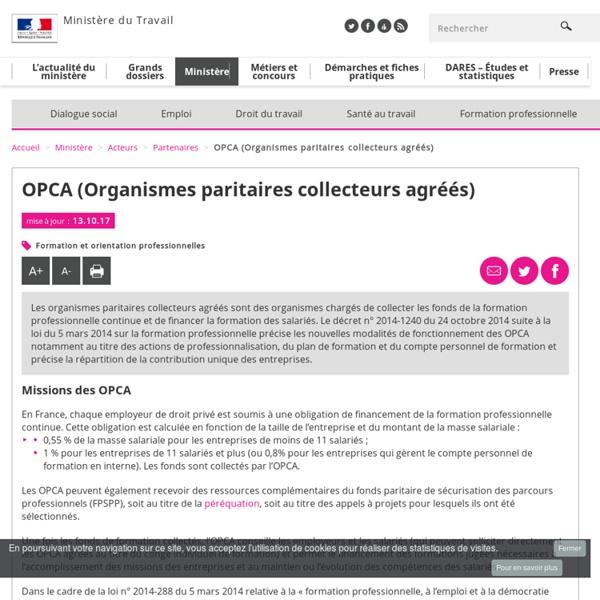 OPCA (Organismes paritaires collecteurs agréés) - Partenaires