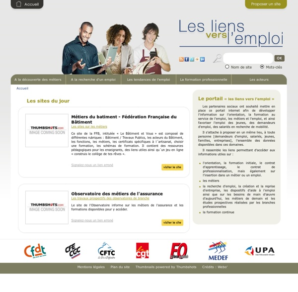 Les liens vers l'emploi : annuaire des sites emploi, formation, orientation, métiers, création d'entreprise