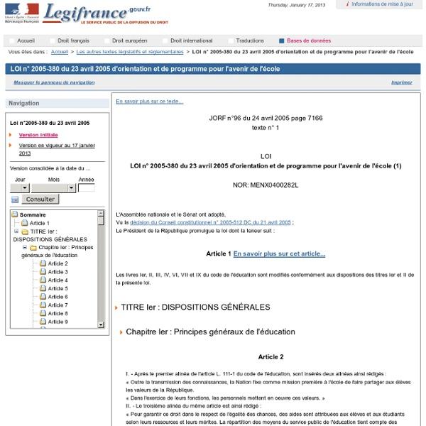 2005-380 du 23 avril 2005 d'orientation et de programme pour l'avenir de l'école
