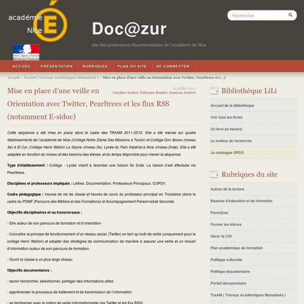 Mise en place d'une veille en Orientation avec Twitter, Pearltrees et les flux RSS (notamment E-sidoc)