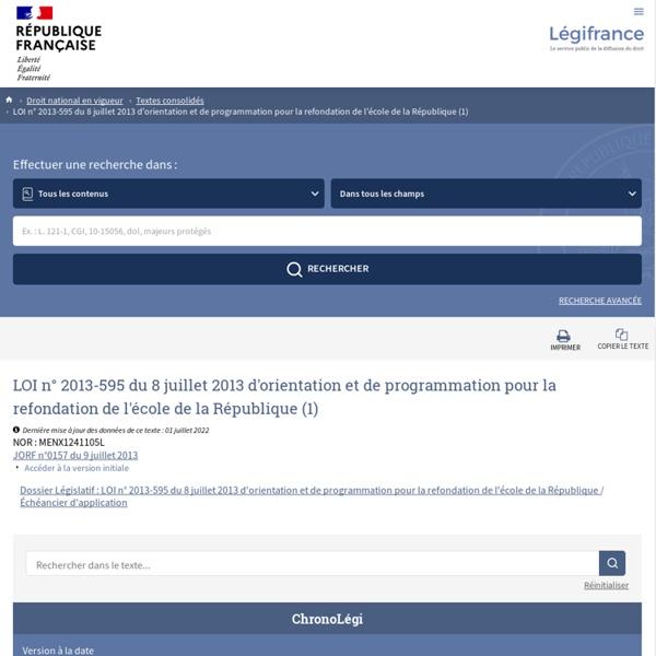 LOI 2013 d'orientation et de programmation pour la refondation de l'école de la République