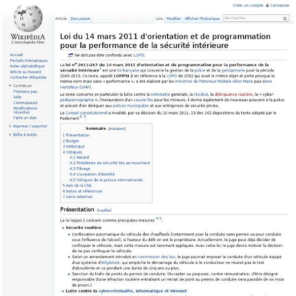Loi d'orientation et de programmation pour la performance de la sécurité intérieure