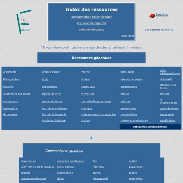 Table d'orientation pour les ressources theoriques