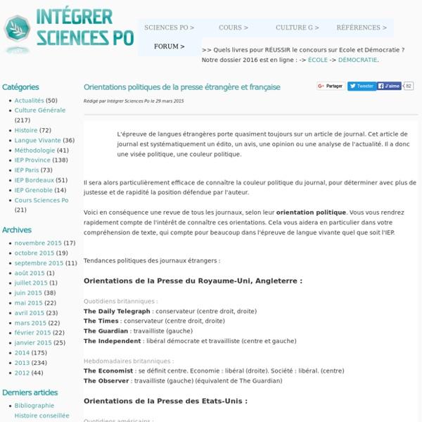 Orientations politiques de la presse étrangère et française - Intégrer Sciences Po