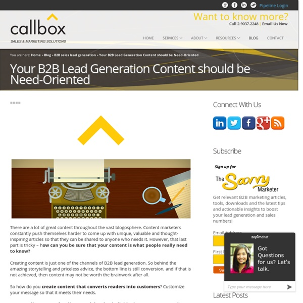 Your B2B Lead Generation Content should be Need-OrientedB2B Lead Generation, Appointment Setting, Telemarketing