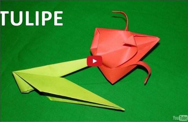 Origami : comment faire une belle tulipe en papier plié. Vidéo éducative.