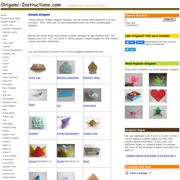 Simple Origami Folding Instructions - Fold Simple Origami - Easy Origami Diagrams