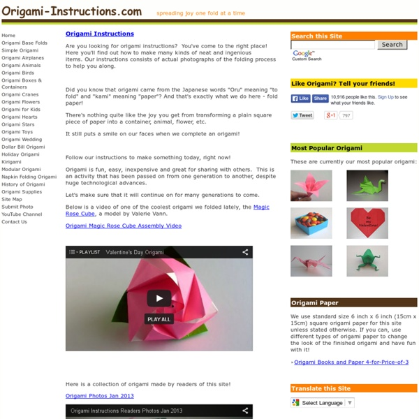 Origami Folding Instructions Instructions On How To Make Origami