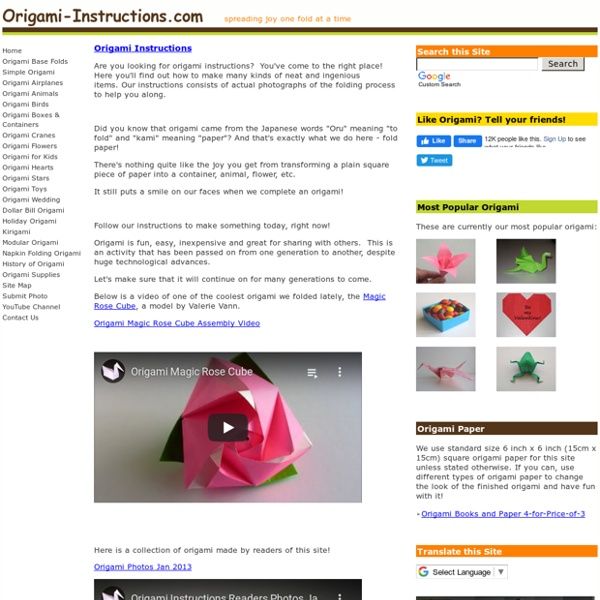 Origami Instructions - Instructions on How to Make Origami