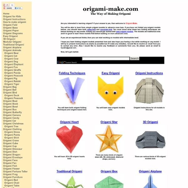 Origami-Make: Instructions to learn how to make origami models