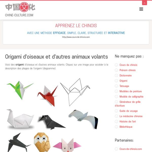 Origami d'oiseaux et d'autres animaux volants