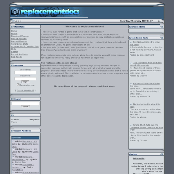 The original web archive of game manuals - replacementdocs