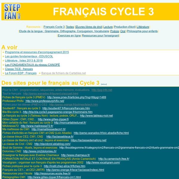 Français à l'école primaire CE2 - CM1 - CM2 - SEGPA : lecture, écrit, orthographe, conjugaison, grammaire, vocabulaire, textes, exercices