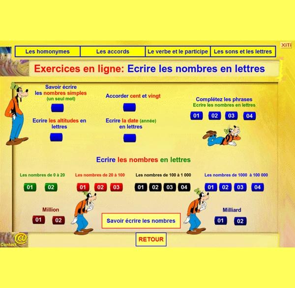 Orthographe en ligne écrire les nombres