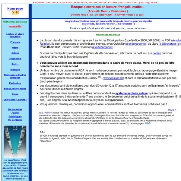Ressources éducatives, exercices, corrigé, français, lecture, orthographe, grammaire, mathématiques, géométrie, histoire, accords