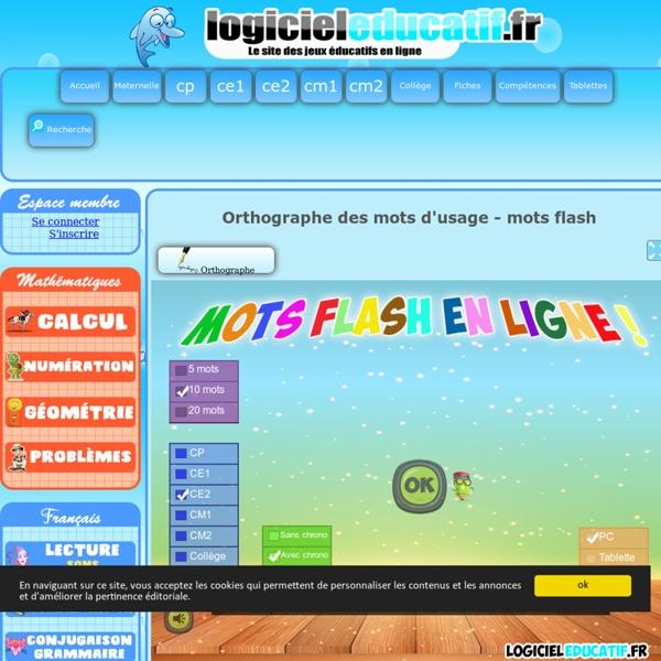 Orthographe mots d'usage - mots flash