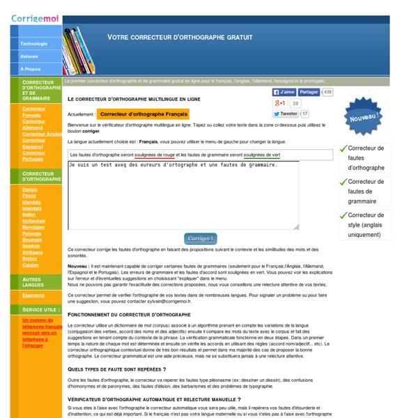 Le correcteur d'orthographe multilingue en ligne
