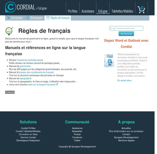 Langue française : manuels de grammaire française, orthographe, typographie