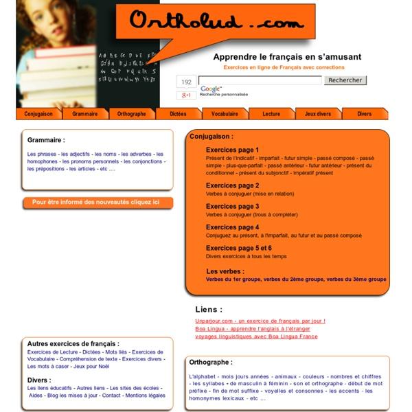 Ortholud.com, exercices en ligne pour apprendre le français