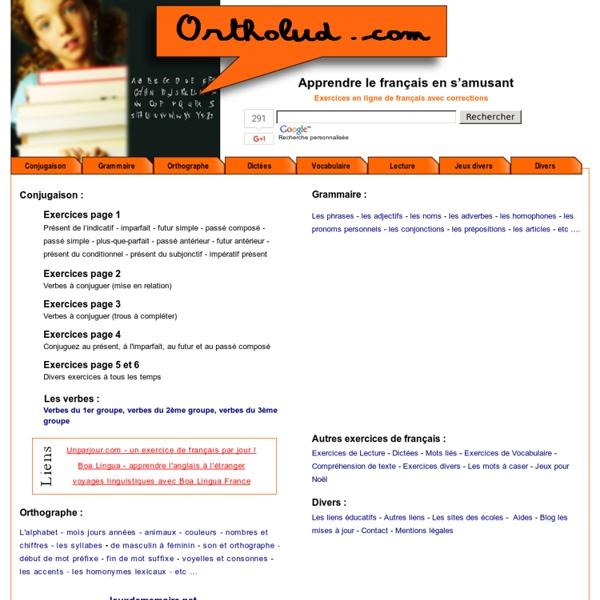 ortholud com  exercices en ligne de fran u00e7ais pour jeunes