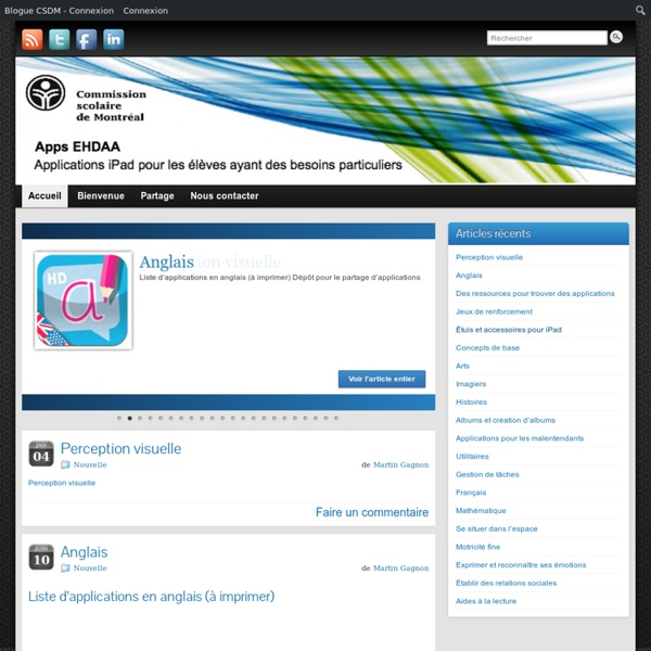 Apps iPad pour EHDAA » Martin Gagnon, orthopédagogue Agnès Dartiailh, orthophoniste