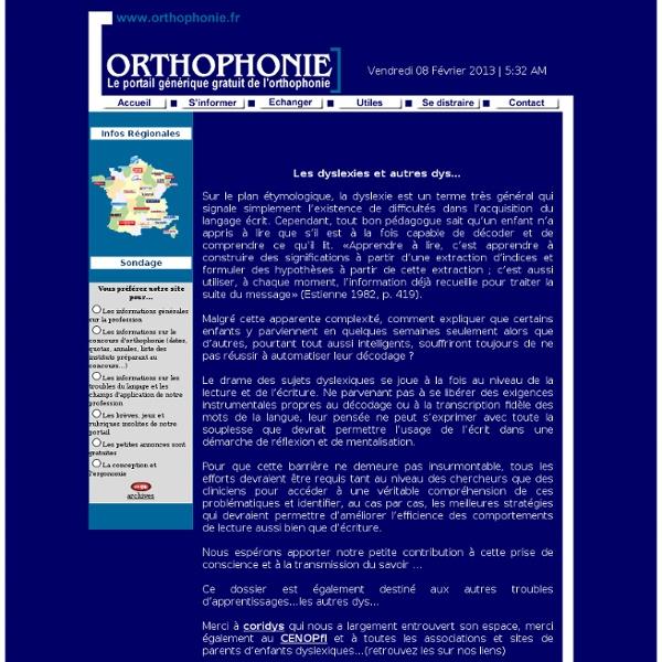L'orthophoniste et les dyslexies, dysorthographies et autres dys...