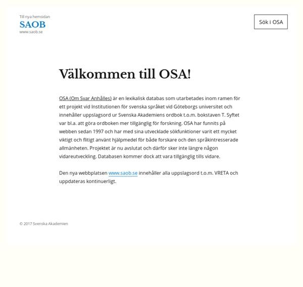 Svenska Akademiens ordbok - SAOB