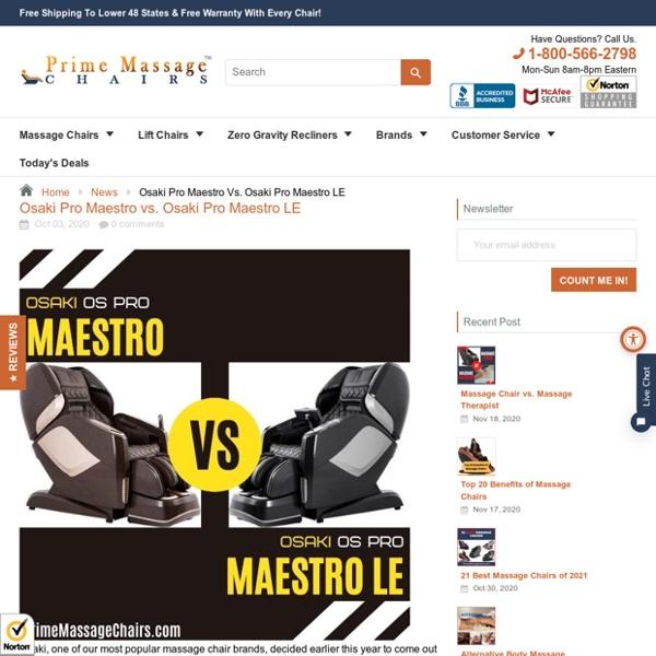 Osaki Pro Maestro vs. Osaki Pro Maestro LE – Prime Massage Chairs