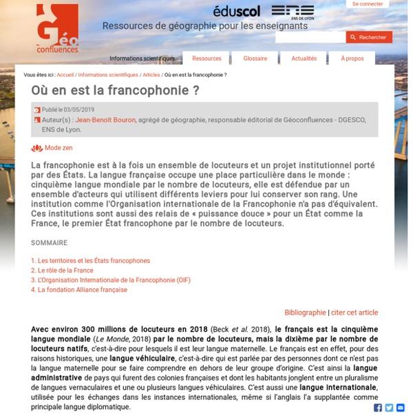 Où en est la francophonie ? (article)