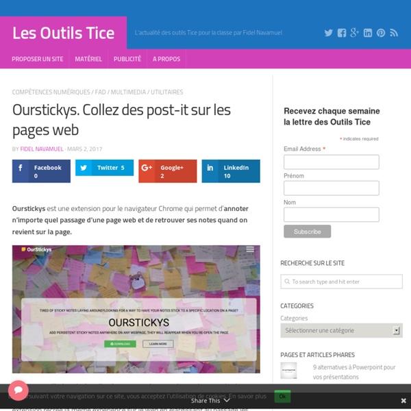 Ourstickys. Collez des post-it sur les pages web – Les Outils Tice