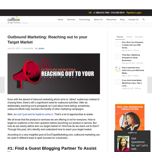 Outbound Marketing: Reaching out to your Target Market