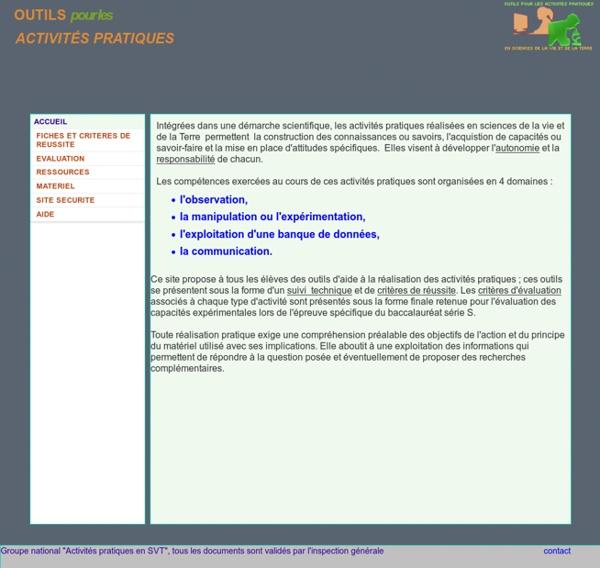 Outils pour les activités pratiques en SVT