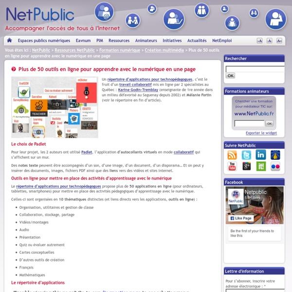 Plus de 50 outils en ligne pour apprendre avec le numérique en une page