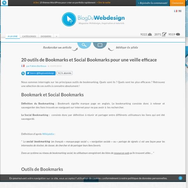 20 outils de Bookmarks et Social Bookmarks pour une veille efficace
