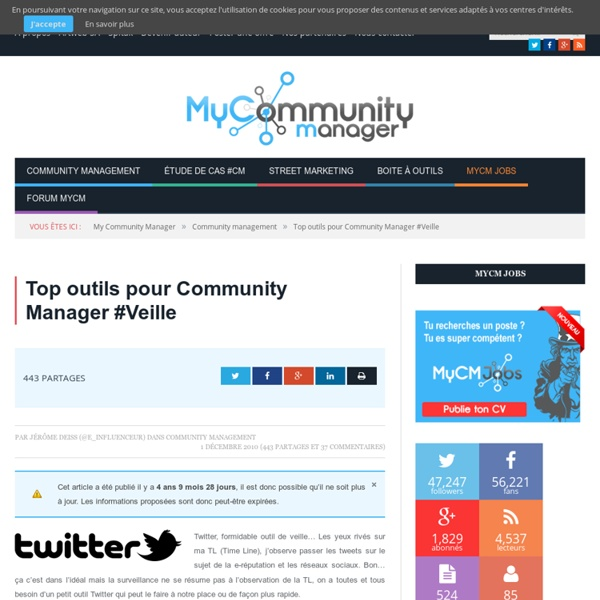 Top outils pour Community Manager #Veille