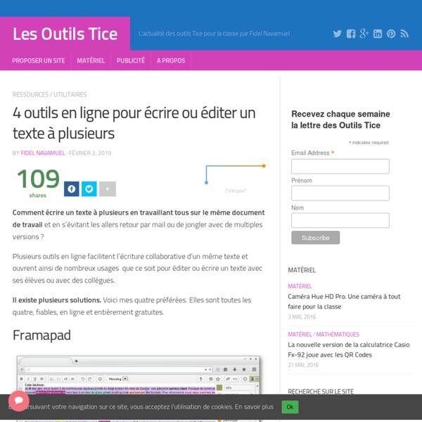 4 outils en ligne pour écrire ou éditer un texte à plusieurs – Les Outils Tice